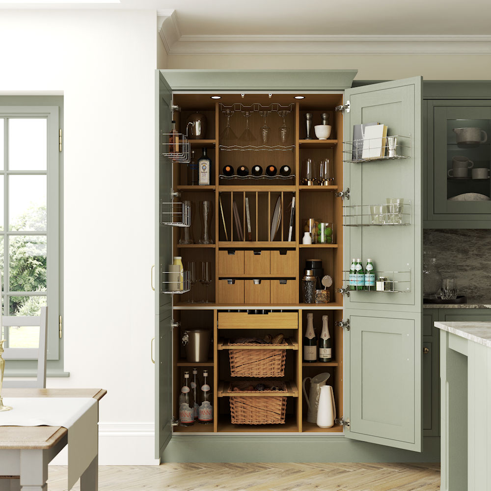 New England PTO Atlantic Green Pantry Cabinet Detail